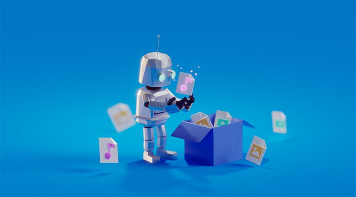 Music Gateway's cool, friendly animated robot managing their cloud storage files, file transfers and sharing files into an open box storage online. Smart people using the right tools to save time